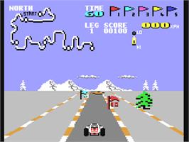 In game image of Speed Buggy on the Commodore 64.