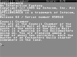 In game image of Spellbreaker on the Commodore 64.