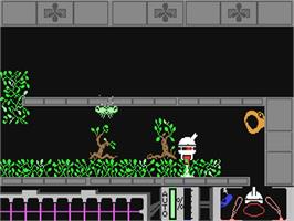 In game image of Spiderbot on the Commodore 64.