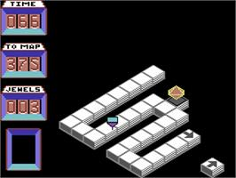 In game image of Spindizzy on the Commodore 64.
