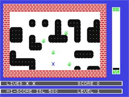 In game image of Splat! on the Commodore 64.