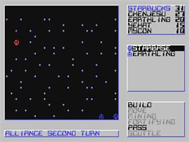 In game image of Star Control on the Commodore 64.