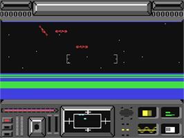 In game image of Star Raiders II on the Commodore 64.