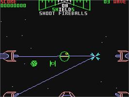 In game image of Star Wars: The Arcade Game on the Commodore 64.