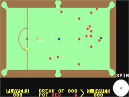 In game image of Steve Davis Snooker on the Commodore 64.