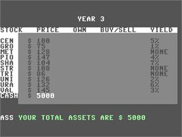 In game image of Stocks And Bonds on the Commodore 64.