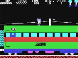 In game image of Stop the Express on the Commodore 64.