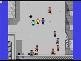 In game image of Street Cred Football on the Commodore 64.