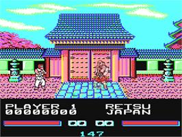 In game image of Street Fighter on the Commodore 64.