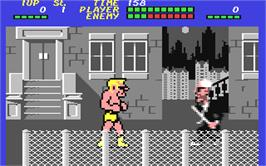 In game image of Street Hassle on the Commodore 64.