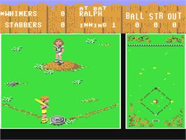 In game image of Street Sports Baseball on the Commodore 64.