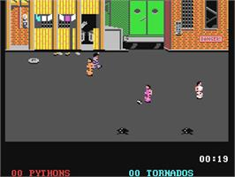 In game image of Street Sports Soccer on the Commodore 64.