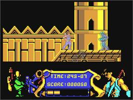 In game image of Strider on the Commodore 64.