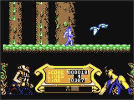 In game image of Strider 2 on the Commodore 64.
