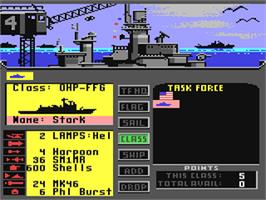 In game image of Strike Fleet on the Commodore 64.