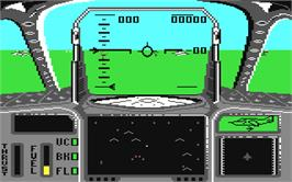 In game image of Strike Force Harrier on the Commodore 64.