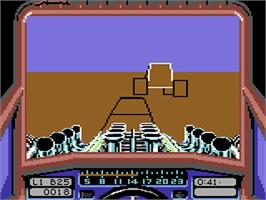 In game image of Stunt Car Racer on the Commodore 64.