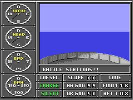In game image of Sub Battle Simulator on the Commodore 64.