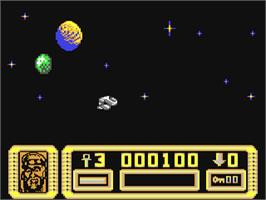 In game image of Suburban Commando on the Commodore 64.