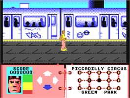 In game image of Subway Vigilante on the Commodore 64.
