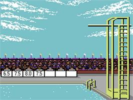 In game image of Summer Games on the Commodore 64.