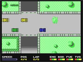 In game image of Super Cars on the Commodore 64.