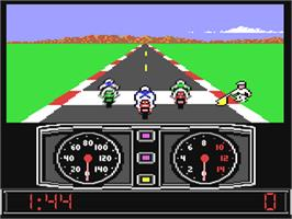 In game image of Super Cycle on the Commodore 64.