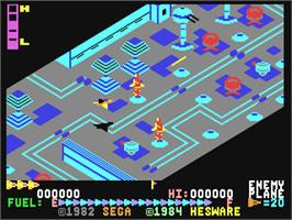 In game image of Super Zaxxon on the Commodore 64.