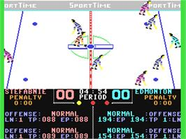 In game image of Superstar Ice Hockey on the Commodore 64.