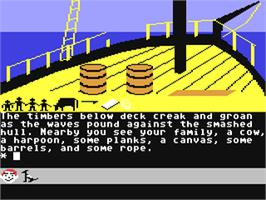 In game image of Swiss Family Robinson on the Commodore 64.