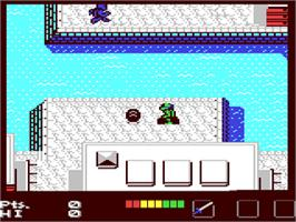In game image of Teenage Mutant Ninja Turtles on the Commodore 64.