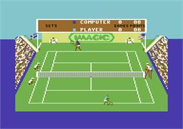 In game image of Tennis on the Commodore 64.