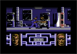 In game image of Terminator 2: Judgment Day on the Commodore 64.