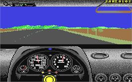 In game image of Test Drive 2 - The Duel on the Commodore 64.