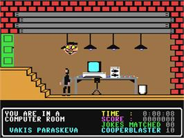 In game image of The Adventures of Bond... Basildon Bond on the Commodore 64.