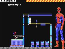In game image of The Amazing Spider-Man on the Commodore 64.