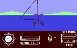 In game image of The American Challenge: A Sailing Simulation on the Commodore 64.