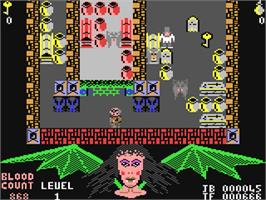 In game image of The Astonishing Adventures of Mr. Weems and the She Vampires on the Commodore 64.