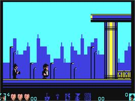 In game image of The Blues Brothers on the Commodore 64.