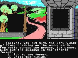 In game image of The Cave of Time on the Commodore 64.
