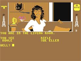In game image of The Dallas Quest on the Commodore 64.