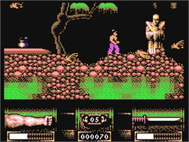 In game image of The First Samurai on the Commodore 64.