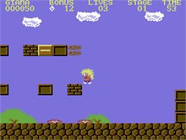 In game image of The Great Giana Sisters on the Commodore 64.