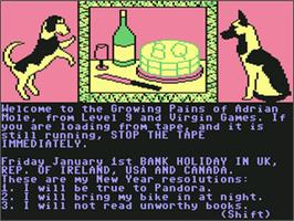 In game image of The Growing Pains of Adrian Mole on the Commodore 64.