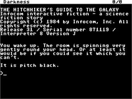 In game image of The Hitchhiker's Guide to the Galaxy on the Commodore 64.