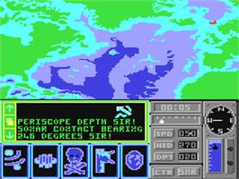 In game image of The Hunt for Red October on the Commodore 64.