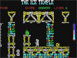 In game image of The Ice Temple on the Commodore 64.
