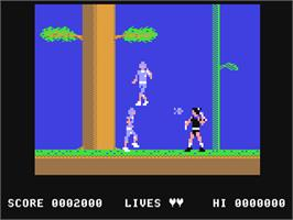 In game image of The Legend of Kage on the Commodore 64.