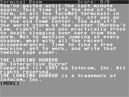 In game image of The Lurking Horror on the Commodore 64.