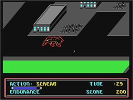 In game image of The Movie Monster Game on the Commodore 64.